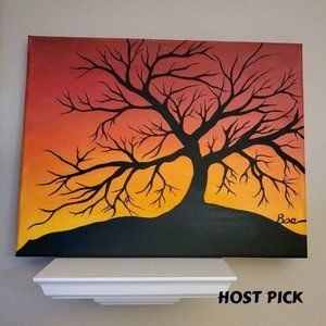 Black Tree Silhouette at Sunset Acrylic Painting